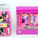 Disney Minnie Mouse Deluxe Autograph Book with Pen and Stickers + Back To School Set Canvas Zipper Pouch, Spiral Notepad, Pen & Pencil BUNDLED!