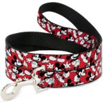 Disney Mickey Mouse poses Scattered Red/Black/White Dog Leash 0.5″ Wide, 6′ Long, Multicolor