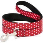 Disney Minnie Mouse Polka Dot/Mini Silhouette Red/White Dog Leash 0.5″ Wide, 6′ Long, Multicolor