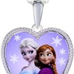 Disney Girls' Frozen Sterling Silver-Plated Heart Pendant Necklace