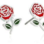 Disney Beauty and the Beast Belle Rose Silver Plated Stud Earrings