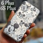 For iPhone 6 Plus / 6S Plus Case – Disney Mickey Mouse Faces Soft TPU Black/Clear Transparent Rubber Silicone ULTRA THIN Slim Fitting Skin Cover (Apple iPhone 6 PLUS or 6S PLUS 5.5″inch)