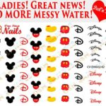 Disney Mickey Mouse Clear Vinyl PEEL and STICK (NOT Waterslide) nail decals/stickers (Set of 62)