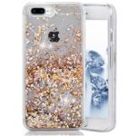 iPhone 7 Plus Case, iPhone 7 Plus Liquid Glitter Case, Asstar 3D Fashion Creative Design Flowing Floating Luxury Bling Glitter Sparkle Heart Clear Diamond Hard Case for iPhone 7 Plus (Gold)
