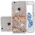 iPhone 6 Plus Case, Asstar 3D Fashion Creative Design iPhone 6 Plus Liquid Quicksand Floating Luxury Bling Glitter Sparkle Heart Clear Diamond Hard Case iPhone 6 Plus / 6S Plus Gold Diamonds