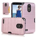 LG Stylo 3 Case, LG Stylo 3 Plus Case, LG Stylus 3 case, Asstar [Card Slots Holder] Dual Layer Soft TPU Hard PC Shockproof Protective Cover for LG Stylo 3/ LG Stylo 3 Plus/ LG Stylus 3 (Rose Gold)