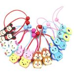 Finex® *Set of 8* Tsum Tsum Elastic Cord Hair Ties Ponytail Holders with bead – Disney Winnie the Pooh Mickey Mouse Minnie Mouse Chip & Dale Baymax Mike Stitch Alien hair accessories *Random Colors*