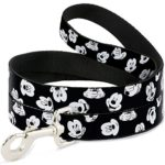 Disney Mickey Mouse Expressions Scattered Black/White Dog Leash 0.5″ Wide, 6′ Long, Multicolor