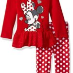 Disney Baby Girls' Minnie Mouse 2 Piece Hooded Top and Legging Set, Chinese Red, 3-6 Months