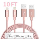Lightning Cable, VP 2Pack 10 FT iPhone Charger Cord nylon braided for Apple iphone SE, iPhone 7, 6s, 6s+, 6+, 6,5s 5c 5,iPad Mini, Air, iPad 6, iPod (2Pack 10FT Pink)