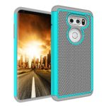 LG V30 Case, Asstar Slim Flexible Durable Dual Layer Soft TPU Shockproof Scratch-Resistant Anti-Slip Rugged Full Body Defender Protective Cover for LG V30 2017 Release (Grey+Mint)