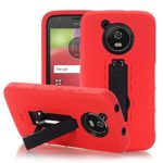 Asstar Moto E4 Case, 3 In 1 Soft Silicone Hard PC Anti-slip Shock Absorbing Impact Resist Rugged Heavy Duty Hybrid Protective Cover with Kickstand Belt Clip for Moto E4 (USA Version) (Black+Red)