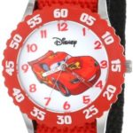 """Disney Kids' W001003 """"Time Teacher"""" Cars Lightning McQueen Stainless Steel Watch with Red Nylon Strap"""