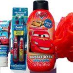 Bubble Bath Set Disney Pixar Cars .. 20 Fl Oz Disney Pixar Cars Bubble Bath + 14 Fl Oz Disney Pixar Cars All-in-one Shower Gel + Disney Cars Kids Tooth Paste + Disney Cars Value Pack Twin Tooth Brush + Jumbo Bath Sponge (A Set of 5)