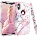 iPhone X Case, VPR Marble Stone Pattern Design 3 in 1 Hybrid Cover Hard PC Soft Silicone Rubber Heavy Duty Shock Absorbing Protective Defender Case for iPhone X 2017 Release (Rosegold2)