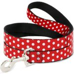 Disney Minnie Mouse Polka Dots Red/White Dog Leash 0.5″ Wide, 6′ Long, Multicolor