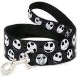 Disney Nightmare before Christmas Jack Expressions Gray Dog Leash 0.5″ Wide, 6′ Long, Multicolor