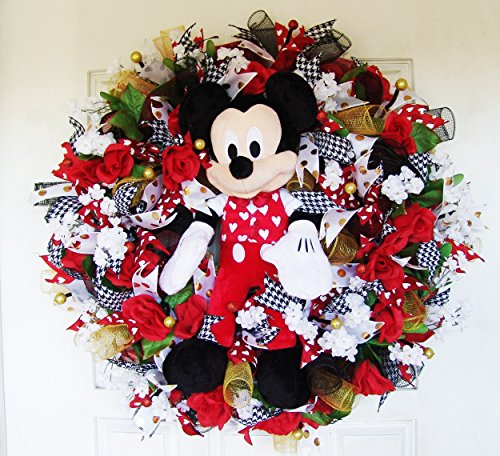 Plush Mickey Mouse Valentine S Day Deco Mesh Front Door Wreath